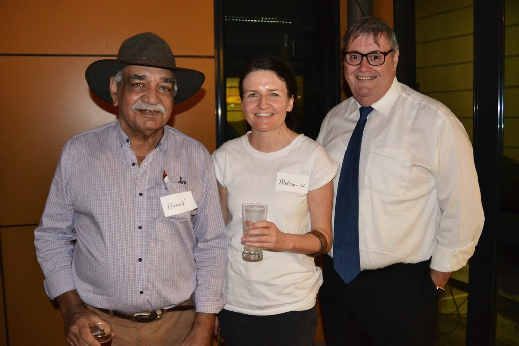 Networking: Precinct Elder-in-residence Harold Fuber with Lendlease's Melissa Haigh and Alice Springs Mayor Damien Ryan